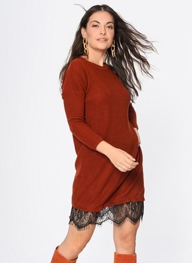 Loves You Eteği Dantel Garnili Tunik Elbise Oranj